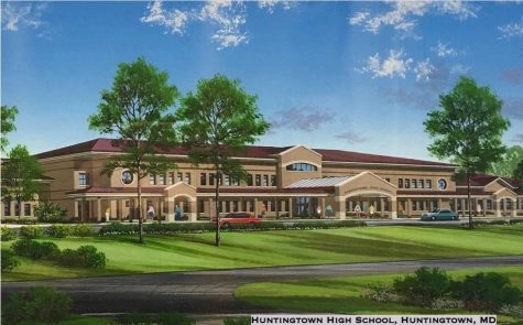An Architects Vision:                                              Delmar Architects, the architectural firm responsible for Huntingtown Highs sleek design, presents this visual to demonstrate what they envisioned as the final result of their project, our school, Huntingtown High. Image from Delmar Architects.