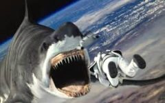 Fin Shepard flying into a shark's mouth in space